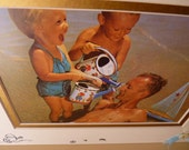 FATHERS DAY BEACH Photo Collage Mixed Media