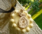 IVORY CROCHET RABBIT NeCkLaCe Handmade Original Woodland Whimsy