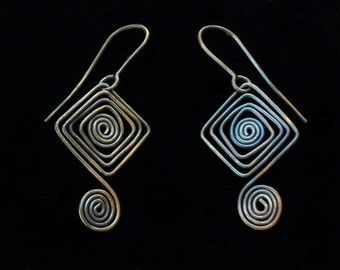 Diamond Spiral Earrings Solid Brass with Vertigris Patina