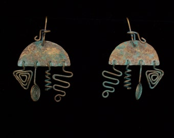 Large Jumble Earrings Solid Brass with Verdigris Patina