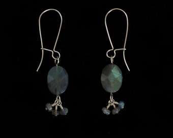 Dangle Earrings Argentium Sterling Silver with Faceted Oval and Rondelle Labradorite Stones