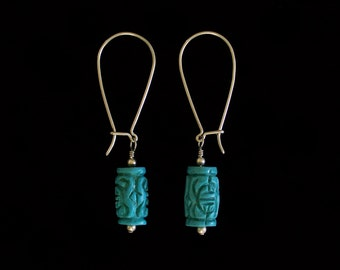 Dangling Argentium Sterling Silver and Turquoise Blue Carved Cinnabar Barrel Bead Earrings