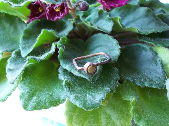 Square Rustic Asymetrical Ring Copper with 4mm Mocha Freshwater Pearl