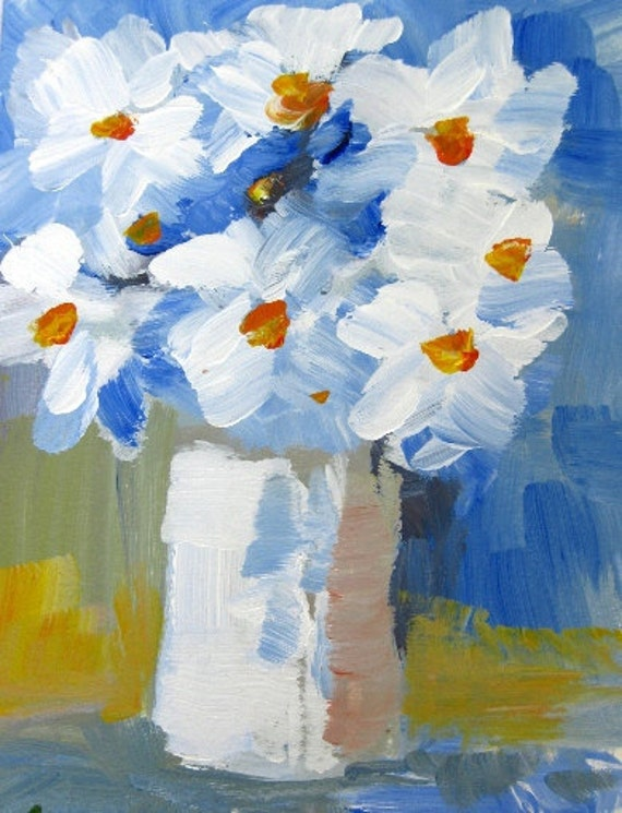 Still life painting, floral painting ,housewarming, white daisy flowers, white flowers, Original Acrylic painting on paper, 5 x 7 in