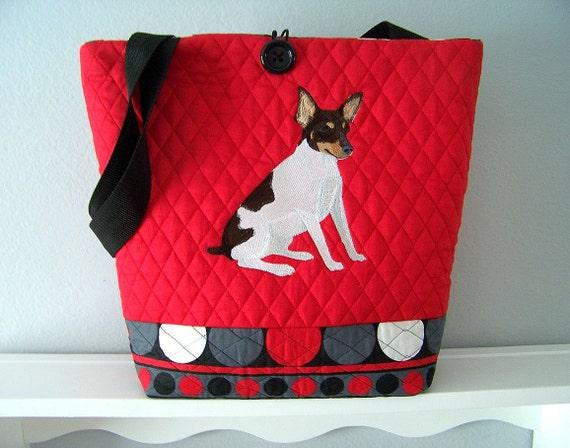 Toy Fox Terrier Reversible Tote Bag
