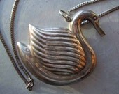 Vintage Sterling Swan Pendant