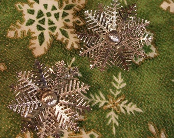 Vintage Emmons Snowflake Clip Earrings
