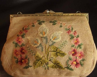 Vintage 1960's Wool Needlepoint  Cala Lily Handbag