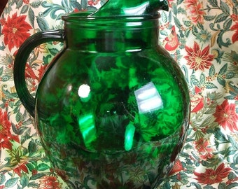Anchor Hocking Forest Green  Round Pitcher