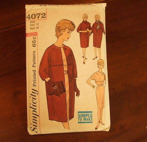 Vintage Sixties Simplicity Coat and Dress Pattern Nice