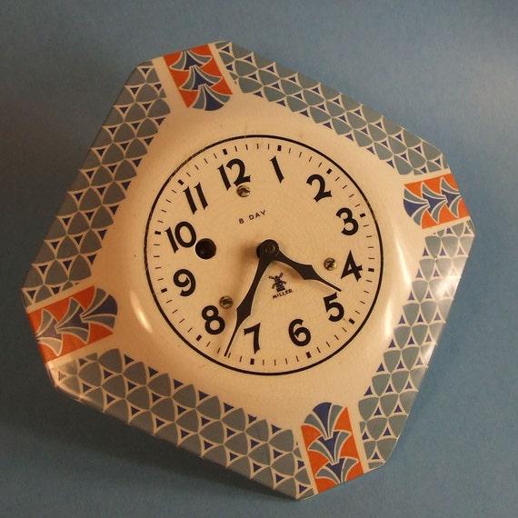 Miller 8 Day Porcelain Face Clock Art Deco