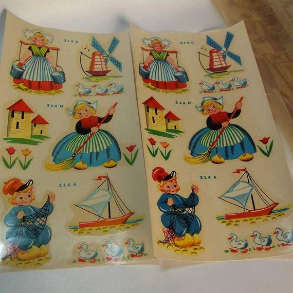 Vintage 1940's Nursery Decals Blue Lamb Dutch Children