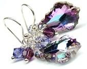 Violet Purple Earrings, Vitrial Light Broque Swarovski Crystal,Peacock Bridal Bridesmaids, Sterling Silver Earrings,Purple Jewelry