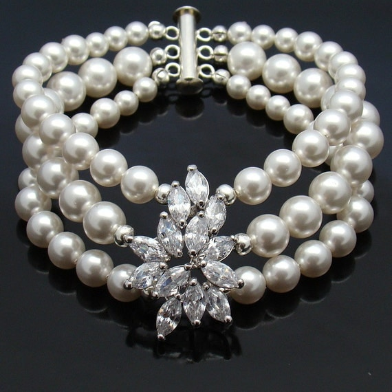 Bridal Bracelet Cuff Brooch...White Swarovski Pearls Clear Cubic Zirconia Flower...White Pearl Three Strand Wedding Jewelry...