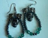 Rhinestone skull and ribbon hematite and glass bead earrings gothic