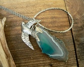 Long Silver Tone Necklace with Blue Agate Slice and Bird charm