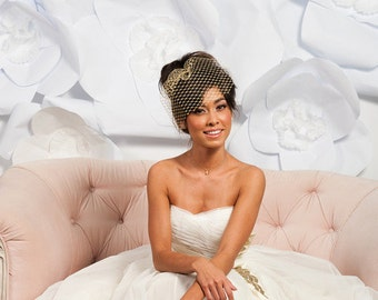 Gold metallic birdcage veil,  gold veil, bridal veil - ready to ship -  FREE SHIPPING*