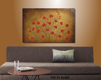 Large Painting Original Abstract Painting Red Poppies Modern Contemporary Palette Knife Painting