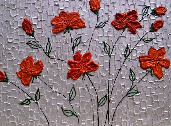 Modern palette knife textured painting of red flowers on metallic silver background 16x20x.75""