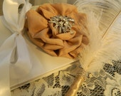 Wedding Guest Book / Guestbook / Ostrich Feather Pen / Rhinestone Brooch / GOLD / Ivory / SET