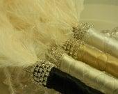 1- FEATHER PEN, Ostrich Feather Pen, Guest Book Pen with Rhinestones, Feather Pen, Sharpie Pen, Retractable NON SmEaR