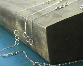 Organic Circle Long Sterling Necklace- Free Shipping