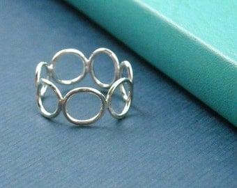 Organic Circle Sterling Ring- Free Shipping, silver ring, sterling silver ring, simple ring, modern ring