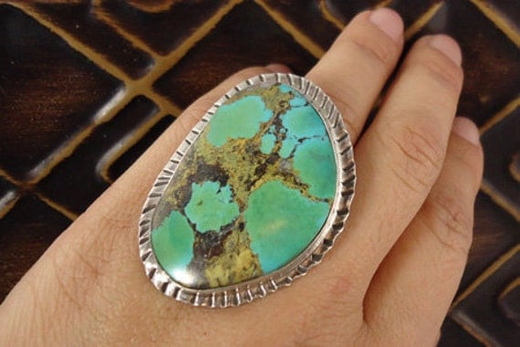 Southwestern Style Ring with large Turquoise in Sterling