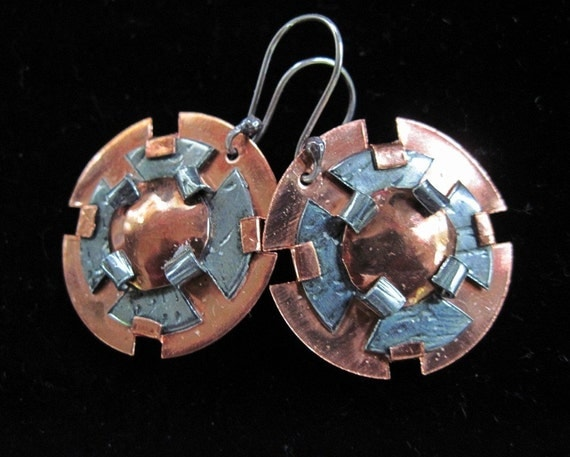Recycled Metal Earrings-l  Copper and German silver