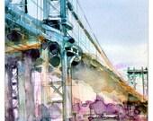 Art Print  Manhattan Bridge -  New York City - Page Size 8.5 x 11