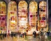 Lincoln Center, New York City Watercolor Print - 11 X 8.5, 11 X 14, 11 X 15, 12 X 18