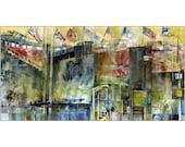 Shea Stadium, Queens, New York Watercolor Kodak Print Size 10 x 20