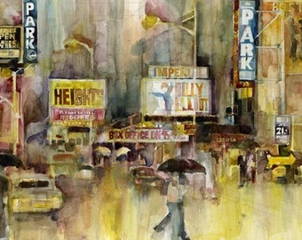 Clearance - New York Theatre District Print by Dorrie Rifkin from original watercolor painting