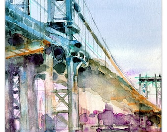 Art Print  Manhattan Bridge -  New York City -  Giclee or Archival Print -  Brooklyn art