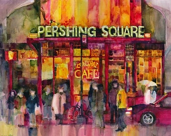 New York Diner - Pershing Square - Original Watercolor Print by Dorrie Rifkin Print Sizes 8.5 x 11 and 12 x 18