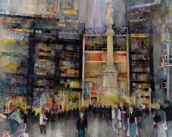 New York Watercolor Kodak  Print Time Warner - Columbus Circle NYC at Night