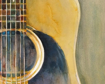 Martin Acoustic Guitar Watercolor Art Print - Size 8.5 x 11