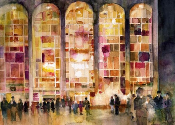 New York Lincoln Center  Art Print  (12 x 18) from Original Watercolor