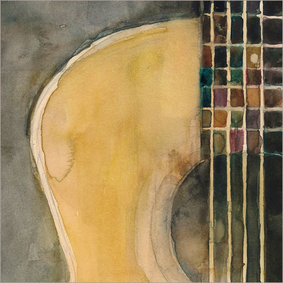 Acoustic Guitar - Square Guitar Watercolor Print - Size  8.5 x 11