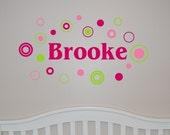 Girl Name with Circles and Dots Wall Decal - Name Wall Decal - Personalized Wall Decal - Nursery Wall Decal - Girl Wall Decal - Wall Decal