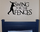 Baseball Decal - Boys Decal - Sports Decal - Sports Nursey - Teen Decal - Baseball Sports Decal - Swing for the Fences - Wall Decal