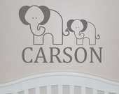 Elephant Wall Decal with Name - Elephant Monogram Decal - Elephant Nursery Wall Decal with Name - Vinyl Wall Decal