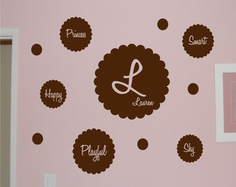 Flower Monogram with Personality Flower Set - Vinyl wall decal