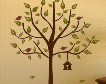 Vinyl Wall Decal Tree with Birdhouse Set