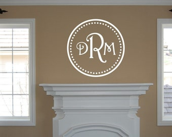 Vinyl Wall Decal Monogram Initials within Circle