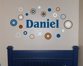 Boy Name with Circles and Dots - Vinyl Wall Decal