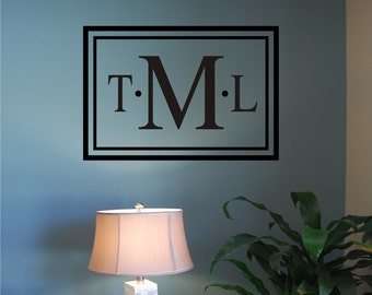 Vinyl Wall Decal - Classic Rectangle Monogram