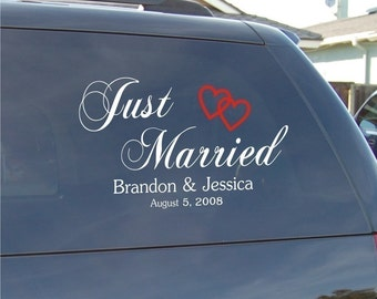 Wedding Decal - Just Married Decal for Vehicles