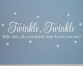 Twinkle Twinkle Little Star Set - Nursery Wall Decal - Baby Wall Decal - Nursery Decal - Love Decal - Wall Decal