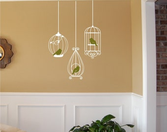 Birdcages with Birds Wall Decal - Birdcage wall decal - Birdcage Decal - Vinyl Wall Decal